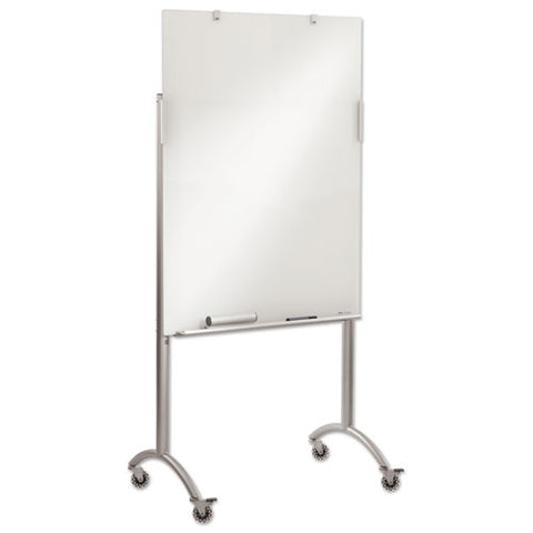 Clarity Glass Mobile Presentation Easel, 36 X 48 X 72, Glass-steel