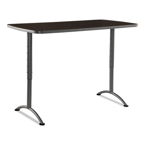 Arc Sit-to-stand Tables, Rectangular Top, 30w X 60d X 30-42h, Walnut-gray