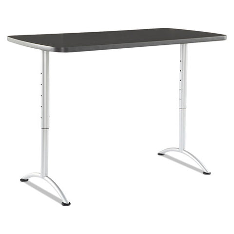 Arc Sit-to-stand Tables, Rectangular Top, 60w X 30d X 30-42h, Graphite-silver