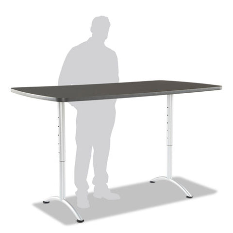 Arc Sit-to-stand Tables, Rectangular Top, 36w X 72d X 30-42h, Graphite-silver
