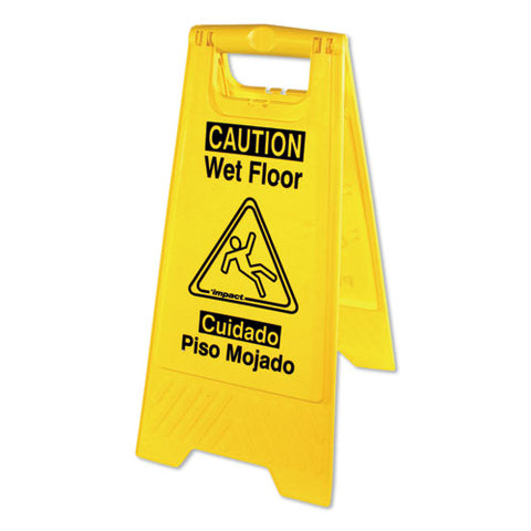 Bilingual Yellow Wet Floor Sign, 12.05 X 1.55 X 24.3, Yellow