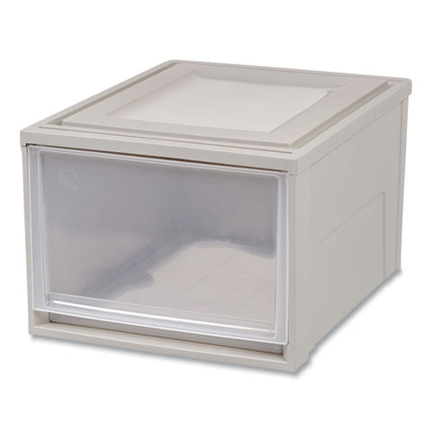 "Stackable Storage Drawer, 10.85 Gal, 15.75"" X 19.62"" X 11.5"", Gray-translucent Frost"