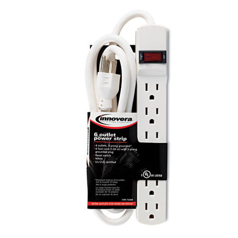 Six-outlet Power Strip, 6 Ft Cord, 1.94 X 10.19 X 1.19, Ivory