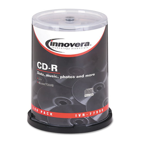 Cd-r Discs, 700mb-80min, 52x, Spindle, Silver, 100-pack