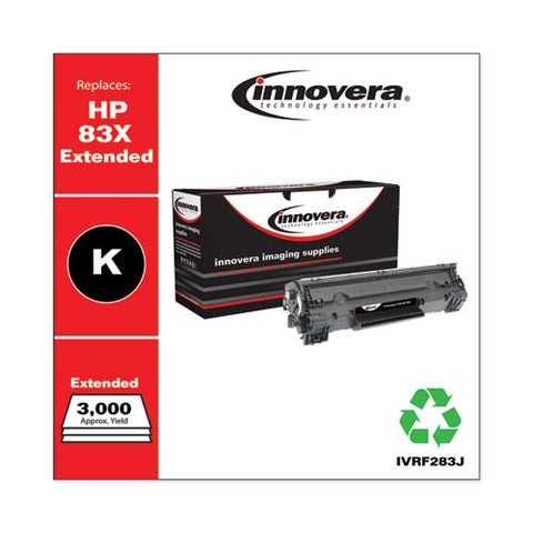 Remanufactured Black Extended-yield Toner, Replacement For Hp 83x (cf283xj), 3,000 Page-yield