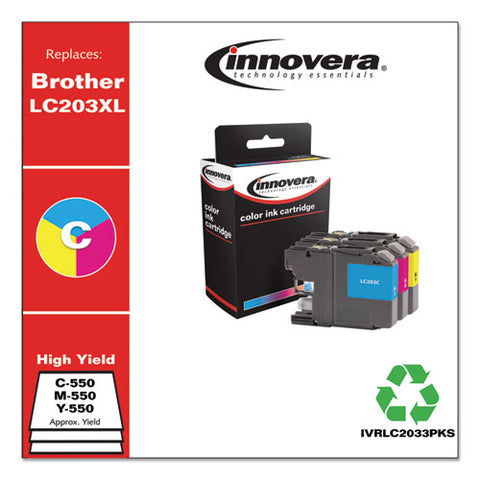 Remanufactured Cyan-magenta-yellow High-yield Ink, Replacement For Brother Lc2033pks, 550 Page-yield