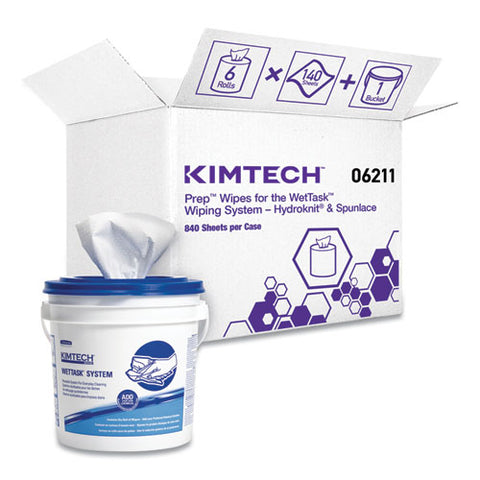 Wipers For Wettask System, Bleach, Disinfectants And Sanitizers, 6 X 12, 840-roll, 6 Rolls And 1 Bucket-carton