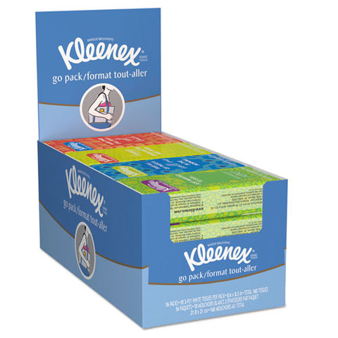 On The Go Packs Facial Tissues, 3-ply, White, 10 Sheets-pack, 16 Packs-box, 12 Boxes-carton