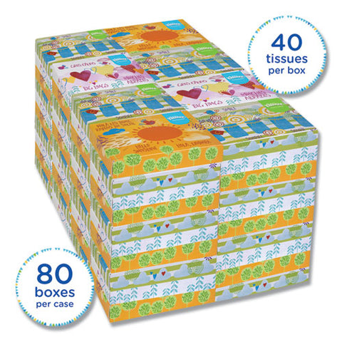 White Facial Tissue Junior Pack, 2-ply, 40 Sheets-box, 80 Boxes-carton