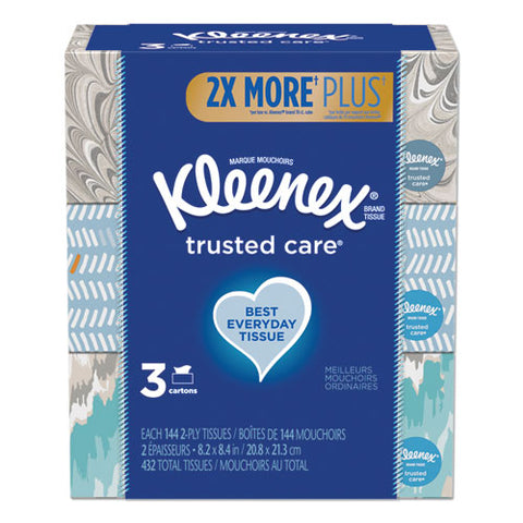 Trusted Care Facial Tissue, 2-ply, White, 144 Sheets-box, 3 Boxes-pack, 12 Packs-carton