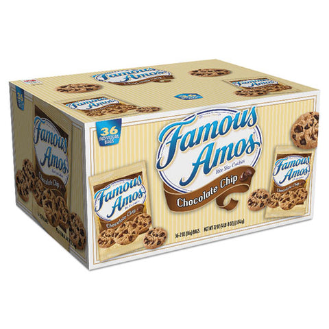 Famous Amos Cookies, Chocolate Chip, 2 Oz Snack Pack, 36-carton