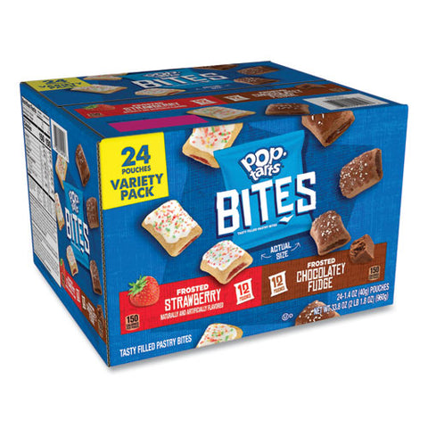 Pop Tarts Bites Variety Pack, Chocolate; Strawberry, 1.4 Oz Pouch, 24-carton