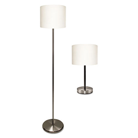 "Slim Line Lamp Set, Table 12 5-8"" High And Floor 61.5"" High, 12""; 6""w X 61.5""; 12.63""h, Silver"
