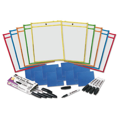 Dry Erase Pocket Class Pack, Assorted Primary Colors, 10-pack