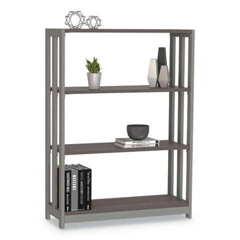 Trento Line Bookcase, Three-shelf, 31 1-2w X 11 5-8d X 43 1-4h, Mocha