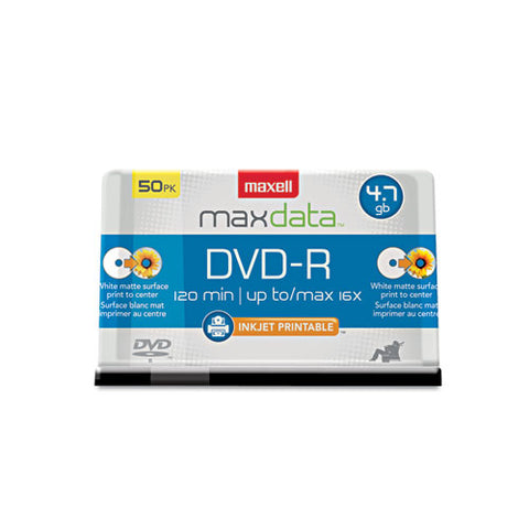 Dvd-r Recordable Discs, Printable, 4.7gb, 16x, Spindle, White, 50-pack