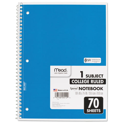 Spiral Notebook, 1 Subject, Medium-college Rule, Assorted Color Covers, 10.5 X 7.5, 70 Sheets