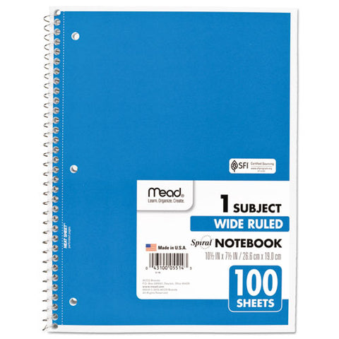 Spiral Notebook, 1 Subject, Wide-legal Rule, Assorted Color Covers, 10.5 X 7.5, 100 Sheets