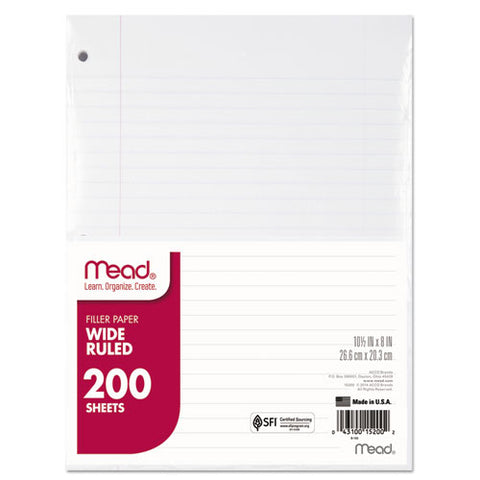 Filler Paper, 3-hole, 8 X 10.5, Wide-legal Rule, 200-pack