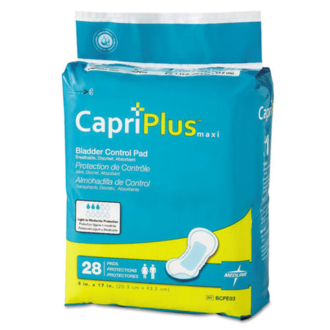 "Capri Plus Bladder Control Pads, Ultra Plus, 8"" X 17"", 28-pack, 6-carton"