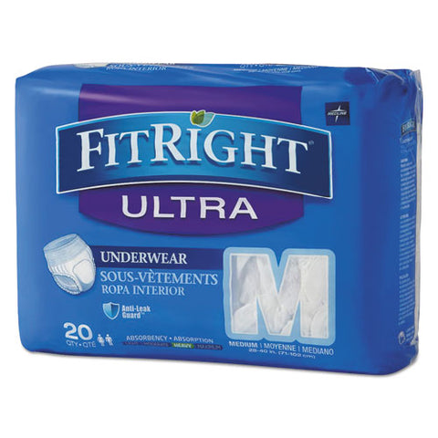 "Fitright Ultra Protective Underwear, Medium, 28"" To 40"" Waist, 20-pack, 4 Pack-carton"