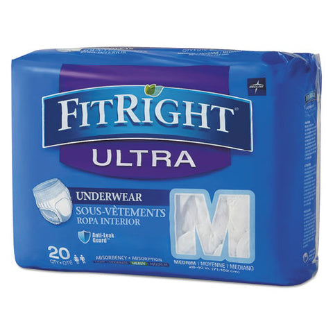 "Fitright Ultra Protective Underwear, Medium, 28"" To 40"" Waist, 20-pack"