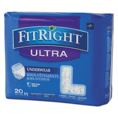 "Fitright Ultra Protective Underwear, Large, 40"" To 56"" Waist, 20-pack"