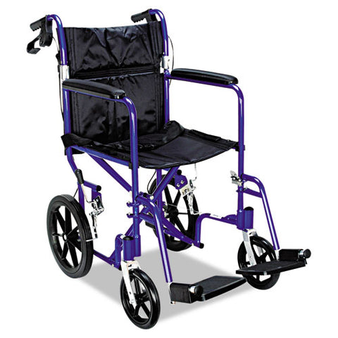 Excel Deluxe Aluminum Transport Wheelchair, 19w X 16d, 300 Lb Capacity