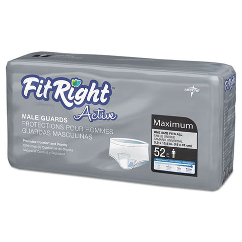 "Fitright Active Male Guards, 6"" X 11"", White, 52-pack"
