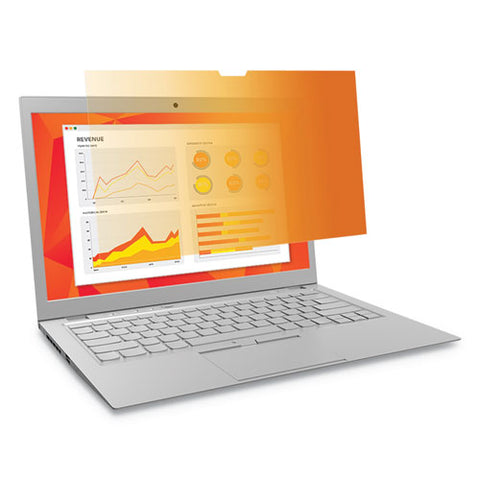 "Touch Compatible Gold Privacy Filter For 14"" Widescreen Laptop, 16:9 Aspect Ratio"