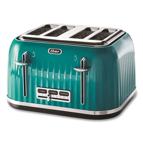 4-slice Toaster With Textured Design With Chrome Accents, 12 X 13 X 8, Teal