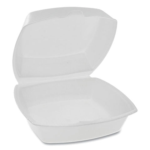 Foam Hinged Lid Containers, Single Tab Lock, 6.38 X 6.38 X 3, White, 500-carton