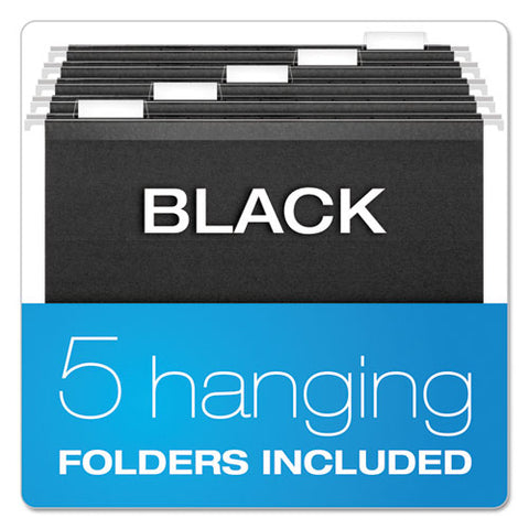 "Desktop File With Hanging Folders, Letter Size, 6"" Long, Black"