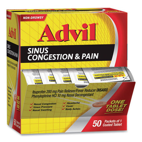 Sinus Congestion And Pain Relief, 50-box