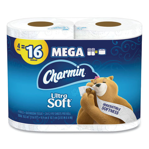 Ultra Soft Bathroom Tissue, Septic Safe, 2-ply, White, 4 X 3.92, 264 Sheets-roll, 4 Rolls-pack, 6 Packs-carton
