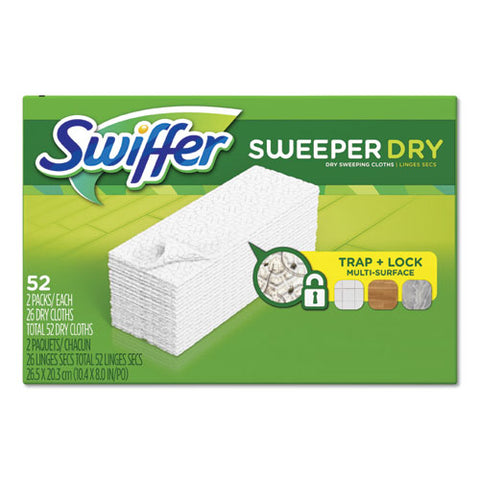 "Dry Refill Cloths, White, 10 2-5"" X 8"", 52-box, 3 Boxes-carton"