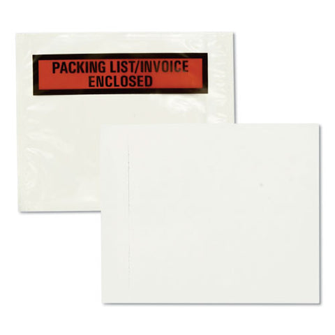 Self-adhesive Packing List Envelope, 4.5 X 5.5, Clear-orange, 100-box