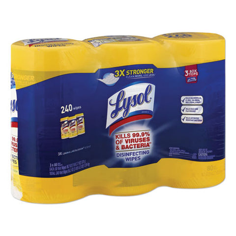 Disinfecting Wipes, 7 X 7.25, Lemon And Lime Blossom, 80 Wipes-canister, 3 Canisters-pack