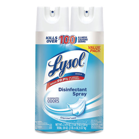 Disinfectant Spray, Crisp Linen, 19 Oz Aerosol, 2-pack, 4 Packs-carton