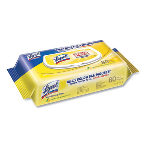 "LYSOL® Brand Disinfecting Wipes Flatpacks, 6.75"" x 8.5"", Lemon/Lime Blossom Scent, 80 Wipes/Flat Pack, 6 Flat Packs/Carton, EPA Registration No. 777-114"