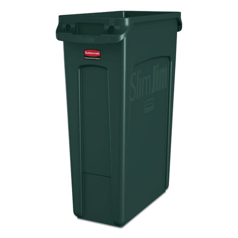 Slim Jim Receptacle With Venting Channels, Rectangular, Plastic, 23 Gal, Dark Green