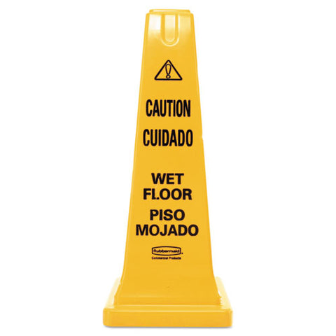 Four-sided Caution, Wet Floor Safety Cone, 10 1-2w X 10 1-2d X 25 5-8h, Yellow