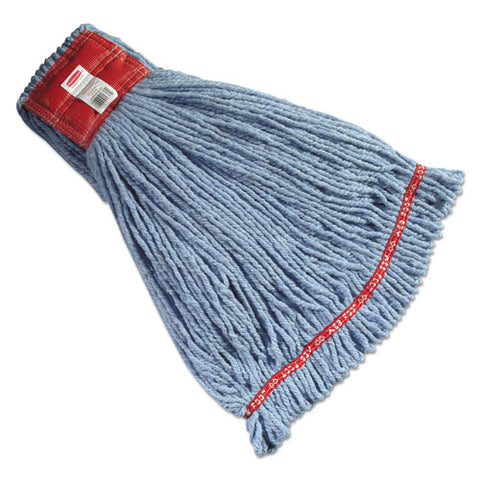 "Web Foot Shrinkless Looped-end Wet Mop Head, Cotton-synthetic, Large, Green, 5"" Red Headband, 6-carton"