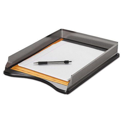 "Distinctions Desk Tray, 1 Section, Legal Size Files, 8.5"" X 14"", Black-silver"