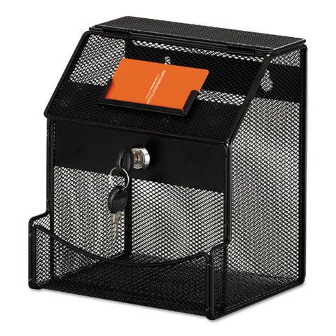 Onyx Mesh Collection Box, 7 1-4 X 8 1-2 X 6, Steel, Black