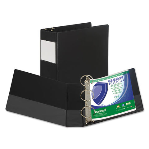 "Clean Touch Locking Round Ring Reference Binder Protected W-antimicrobial Additive, 3 Rings, 3"" Capacity, 11 X 8.5, Black"