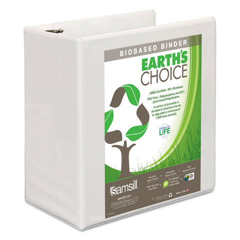 "Earth's Choice Biobased D-ring View Binder, 3 Rings, 5"" Capacity, 11 X 8.5, White"