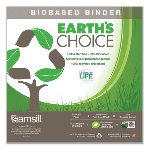 "Earth's Choice Biobased D-ring View Binder, 3 Rings, 1.5"" Capacity, 11 X 8.5, White"