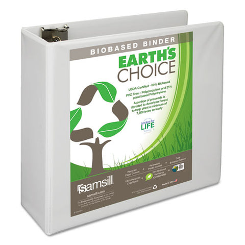 "Earth's Choice Biobased D-ring View Binder, 3 Rings, 4"" Capacity, 11 X 8.5, White"