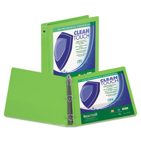 "Clean Touch Round Ring View Binder Protected W-antimicrobial Additive, 3 Rings, 1"" Capacity, 11 X 8.5, Lime"